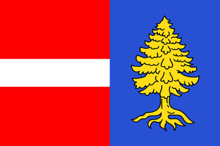 Flag of Thann is a commune in the northeastern French department of Haut-Rhin, in Grand Est. 3d illustration Stock Photo
