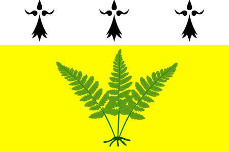 bretagne: Flag of Fougeres is a commune and a sub-prefecture of the Ille-et-Vilaine department in Brittany in northwestern France. 3D illustration