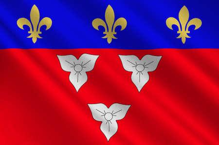 Le drapeau d'Orléans est une ville du centre-nord de la France, c'est la capitale du département du Loiret et du Centre-Val de Loire. Illustration 3d Banque d'images - 82668892