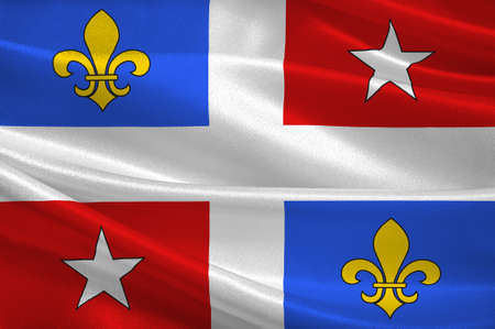 Flag of Corte is a commune in the Haute-Corse department of France on the island of Corsica. 3d illustration