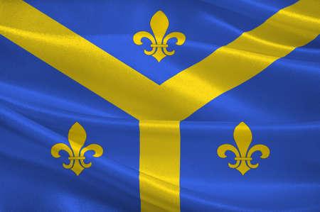 Drapeau de Issoudun est une commune française située dans le département de l'Indre. Illustration 3D Banque d'images - 82596946