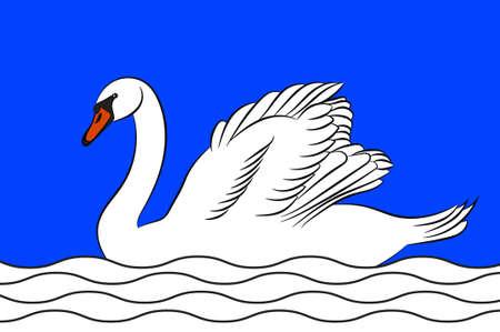 Drapeau du Blanc est une commune et une sous-préfecture du département de l'Indre dans le centre de la France. Illustration 3D Banque d'images - 82608294