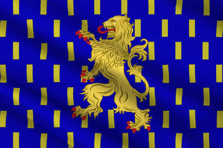 chateau: Flag of Nevers is the prefecture of the Nievre department in the Bourgogne-Franche-Comte region in central France. 3D illustration