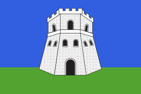 Flag of Bastia is a French commune in the Haute-Corse department of France. 3D illustration Stock Photo