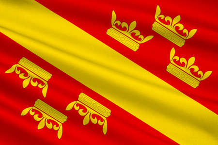 Flag of Haut-Rhin is a department in the Grand Est region of France. 3d illustration