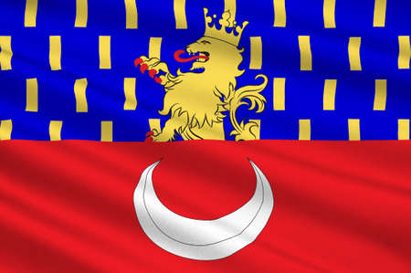 Flag of Vesoul is a commune in the Haute-Saone department in the region of Franche-Comte located in eastern France. 3d illustration
