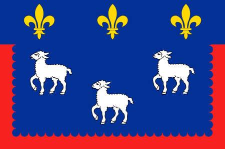 Le drapeau de Bourges est la capitale du département du Cher dans le centre de la France. Illustration 3D Banque d'images - 82598177