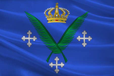 Vlag van Saint-Etienne is de hoofdstad van het departement Loire in het oosten van Midden-Frankrijk. 3D illustratie