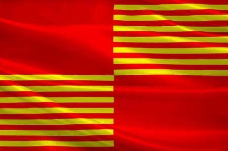 Le drapeau de Saint-Amand-Montrond est une commune française, située dans le département du Cher, dans le centre de la France et le Berry. Illustration 3D Banque d'images - 82607650