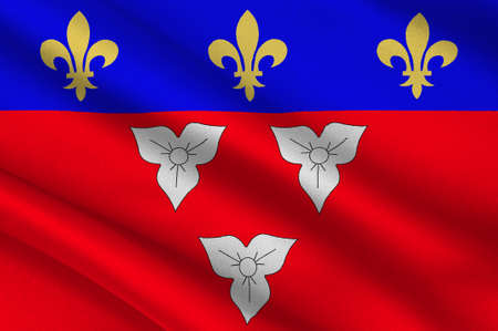 orleans symbol: Flag of Orleans is a city in north-central France, it is the capital of the Loiret department and of the Centre-Val de Loire region. 3d illustration