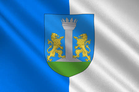Flag of Ajaccio is a French commune, prefecture of the department of Corse-du-Sud, and capital city of Corsica. 3d illustration