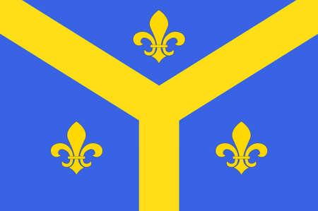 Drapeau de Issoudun est une commune française située dans le département de l'Indre. Illustration 3D Banque d'images - 82653822