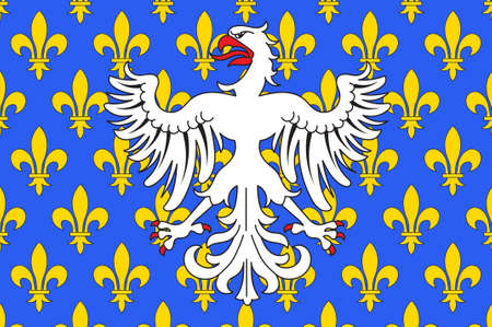 Vlag van Le Puy-en-Velay is een gemeente in het departement Haute-Loire in Zuid-Midden-Frankrijk. 3D illustratie