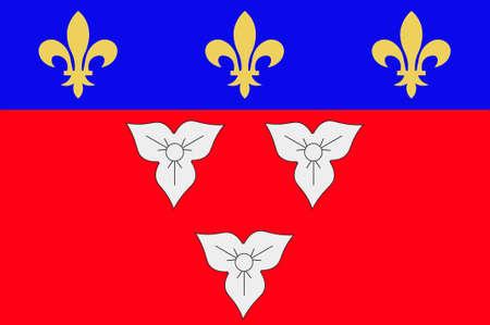 Le drapeau d'Orléans est une ville du centre-nord de la France, c'est la capitale du département du Loiret et du Centre-Val de Loire. Illustration 3d Banque d'images - 82609761