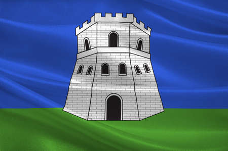 Flag of Bastia is a French commune in the Haute-Corse department of France. 3D illustration Фото со стока