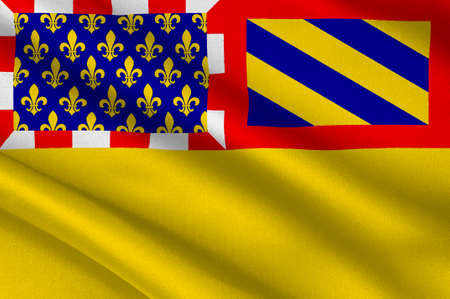 Flag of Cote-dOr is a department in the eastern part of France. 3D illustration