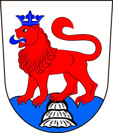 Coat of arms of Calw is a district in the middle of Baden-Wurttemberg, Germany. Vector illustration from the Heraldry of the World authors and compilers Olga Bortnik, Ivan Rezko, 2008