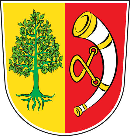lake district: Coat of arms of Friedrichshafen is city in Baden-Wurttemberg of Southern Germany. Vector illustration from the Heraldry of the World authors and compilers Olga Bortnik, Ivan Rezko, 2008