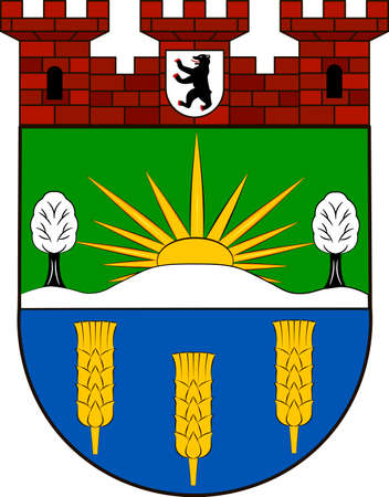 Coat of arms of Lichtenberg is the eleventh borough of Berlin, Germany. Vector illustration from the Heraldry of the World authors and compilers Olga Bortnik, Ivan Rezko, 2008 Illustration