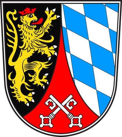 Coat of arms of Upper Palatinate is one of the seven administrative districts of Bavaria, Germany, located in the east of Bavaria. Vector illustration Illustration