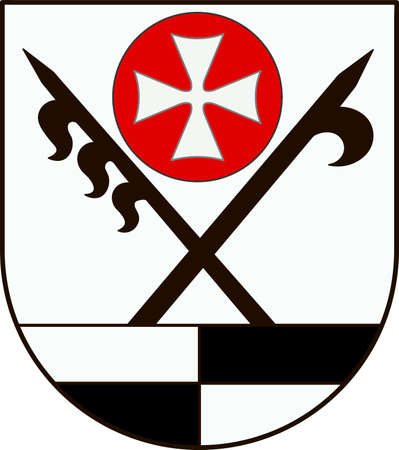 Coat of arms of Schwabisch Hall is a district in the northeast of Baden-Wurttemberg, Germany. Vector illustration from the Heraldry of the World authors and compilers Olga Bortnik, Ivan Rezko, 2008 Illustration