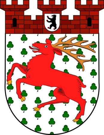 Coat of arms of Tiergarten is borough of Mitte, in central Berlin, Germany. Vector illustration from the Heraldry of the World authors and compilers Olga Bortnik, Ivan Rezko, 2008