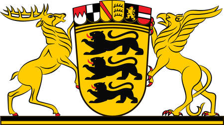 Coat of arms of Baden-Wuerttemberg is a state in Germany located in the southwest, east of the Upper Rhine. Vector illustration from the Heraldry of the World authors and compilers Olga Bortnik, Ivan Rezko, 2008