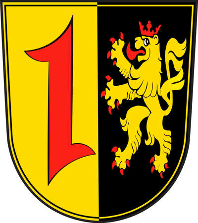 Coat of arms of Mannheim is a city in the southwestern part of Germany. Vector illustration from the Heraldry of the World authors and compilers Olga Bortnik, Ivan Rezko, 2008 Illustration