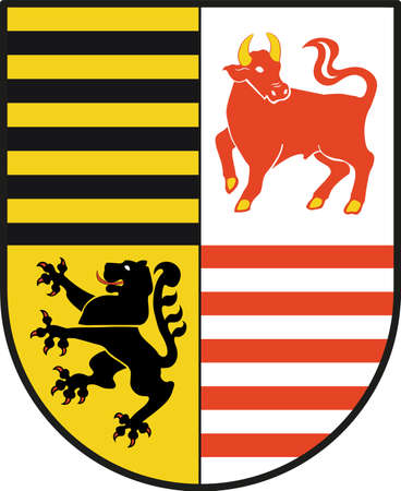Coat of arms of Elbe-Elster is a district in Brandenburg, Germany. Vector illustration from the Heraldry of the World authors and compilers Olga Bortnik, Ivan Rezko, 2008 Illustration
