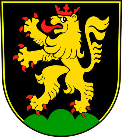 Coat of arms of Heidelberg is a college town in Baden-Wurttemberg of Germany. Vector illustration from the Heraldry of the World authors and compilers Olga Bortnik, Ivan Rezko, 2008