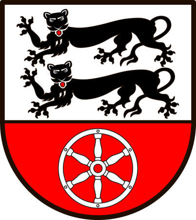 Coat of arms of Hohenlohekreis is a district in the north of Baden-Wurttemberg, Germany. Vector illustration from the Heraldry of the World authors and compilers Olga Bortnik, Ivan Rezko, 2008