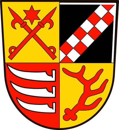 Coat of arms of Oder-Spree is a district in the eastern part of Brandenburg, Germany. Vector illustration from the Heraldry of the World authors and compilers Olga Bortnik, Ivan Rezko, 2008 Illustration