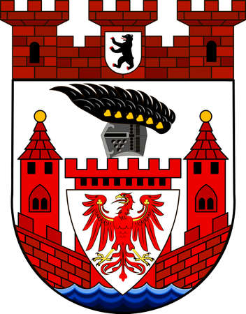 Coat of arms of Spandau is the fifth of the twelve boroughs of Berlin, Germany. Vector illustration from the Heraldry of the World authors and compilers Olga Bortnik, Ivan Rezko, 2008
