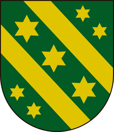 Coat of arms of Reutlingen is a district in the middle of Baden-Wurttemberg, Germany. Vector illustration from the Heraldry of the World authors and compilers Olga Bortnik, Ivan Rezko, 2008