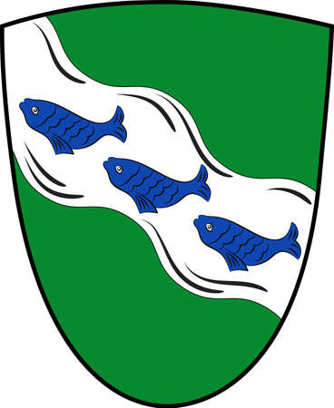 Coat of arms of Ansbach is a city in the German state of Bavaria. Vector illustration from the Heraldry of the World authors and compilers Olga Bortnik, Ivan Rezko, 2008