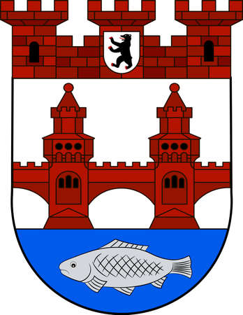 Coat of arms of Friedrichshain is a district of Friedrichshain-Kreuzberg in Berlin, Germany. Vector illustration from the Heraldry of the World authors and compilers Olga Bortnik, Ivan Rezko, 2008