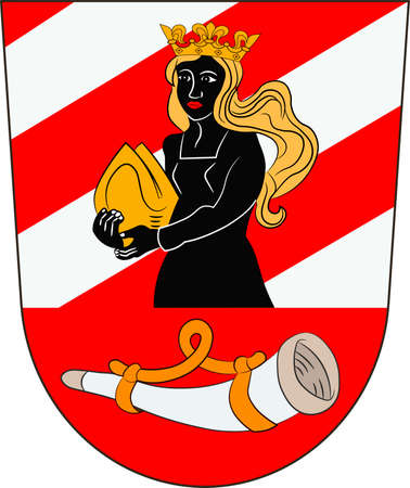 Coat of arms of Neu-Ulm is a district in Swabia, Bavaria, Germany. Vector illustration from the Heraldry of the World authors and compilers Olga Bortnik, Ivan Rezko, 2008