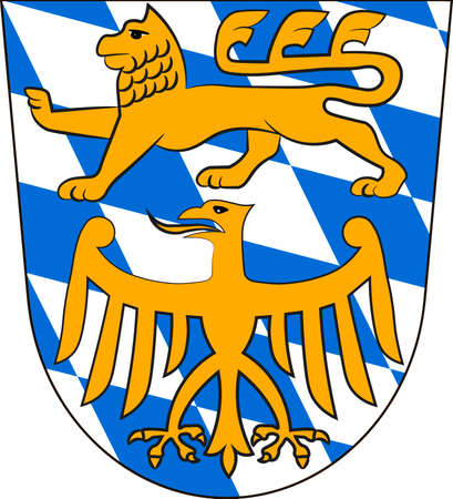 Coat of arms of Starnberg is a district in Upper Bavaria, Germany. Vector illustration from the Heraldry of the World authors and compilers Olga Bortnik, Ivan Rezko, 2008