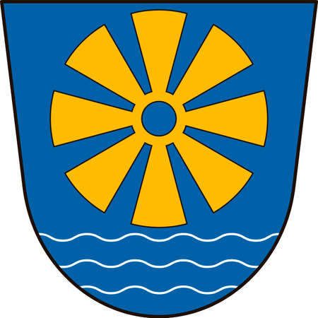 lake district: Coat of arms of Bodensee district in the south-east of Baden-Wurttemberg, Germany. Vector illustration from the Heraldry of the World authors and compilers Olga Bortnik, Ivan Rezko, 2008