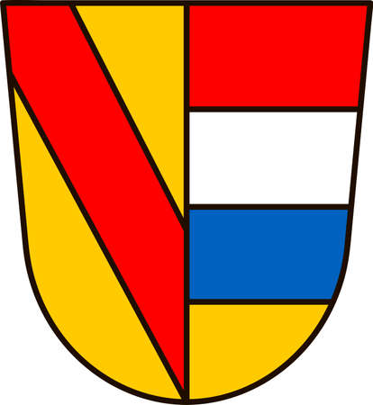 Coat of arms of Pforzheim is a city in Baden-Wurttemberg, in the southwest of Germany. Vector illustration from the Heraldry of the World authors and compilers Olga Bortnik, Ivan Rezko, 2008 Illustration