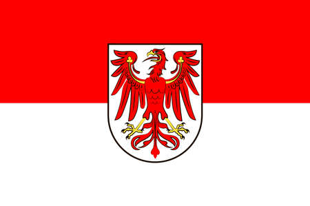 Flag of Brandenburg is state of Germany. Vector illustration from the Heraldry of the World authors and compilers Olga Bortnik, Ivan Rezko, 2008