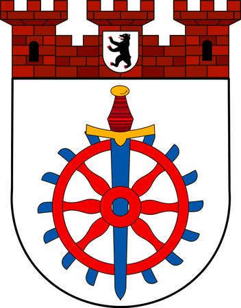 Coat of arms of Weissensee is a locality in the borough of Pankow in Berlin, Germany. Vector illustration from the Heraldry of the World authors and compilers Olga Bortnik, Ivan Rezko, 2008 Illustration