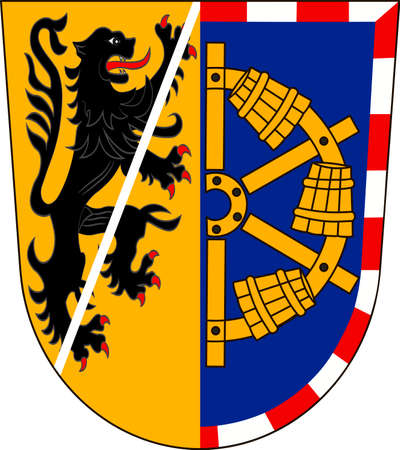 Coat of arms of Erlangen-Hochstadt in Middle Franconia, Bavaria of German. Vector illustration from the Heraldry of the World authors and compilers Olga Bortnik, Ivan Rezko, 2008
