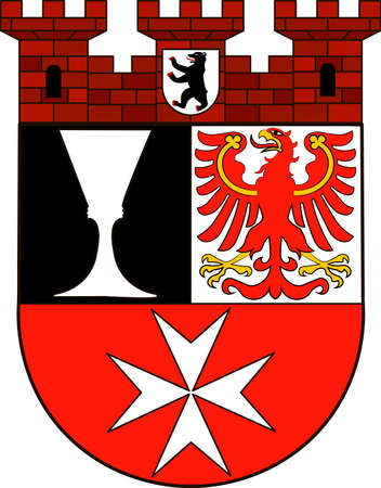Coat of arms of Neukoelln is the eighth borough of Berlin, Germany. Vector illustration from the Heraldry of the World authors and compilers Olga Bortnik, Ivan Rezko, 2008
