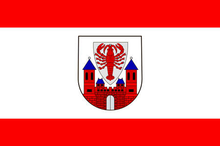 Flag of Cottbus is a university city in Brandenburg, Germany. Vector illustration from the Heraldry of the World authors and compilers Olga Bortnik, Ivan Rezko, 2008 Illustration