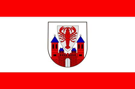 Flag of Cottbus is a university city in Brandenburg, Germany. Vector illustration from the Heraldry of the World authors and compilers Olga Bortnik, Ivan Rezko, 2008 Illustration