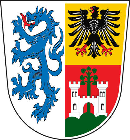 Coat of arms of Traunstein is a district in Upper Bavaria, Germany. Vector illustration from the Heraldry of the World authors and compilers Olga Bortnik, Ivan Rezko, 2008