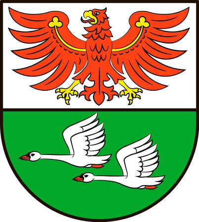 Coat of arms of Oberhavel is a district in Brandenburg, Germany. Vector illustration from the Heraldry of the World authors and compilers Olga Bortnik, Ivan Rezko, 2008 Illustration