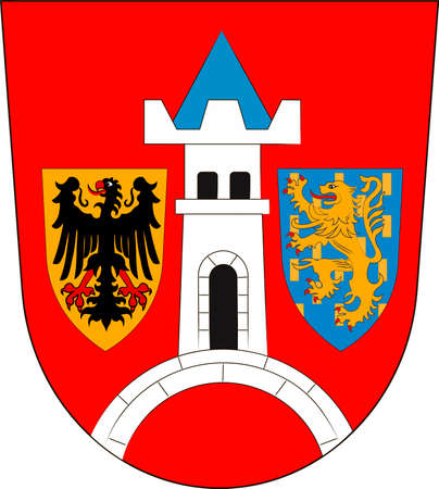 Coat of arms of Schwabach in Middle Franconia, Bavaria of German. Vector illustration from the Heraldry of the World authors and compilers Olga Bortnik, Ivan Rezko, 2008