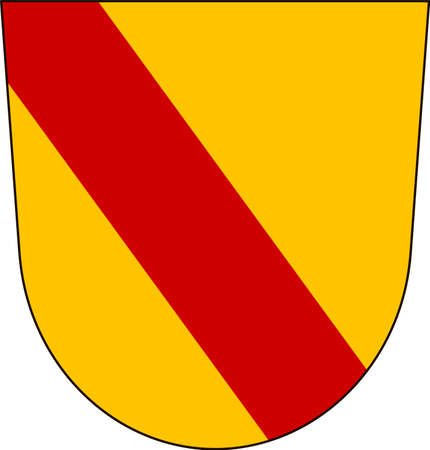 Coat of arms of Baden-Baden is a spa town in the state of Baden-Wurttemberg in southwestern Germany. Vector illustration from the Heraldry of the World authors and compilers Olga Bortnik, Ivan Rezko, 2008